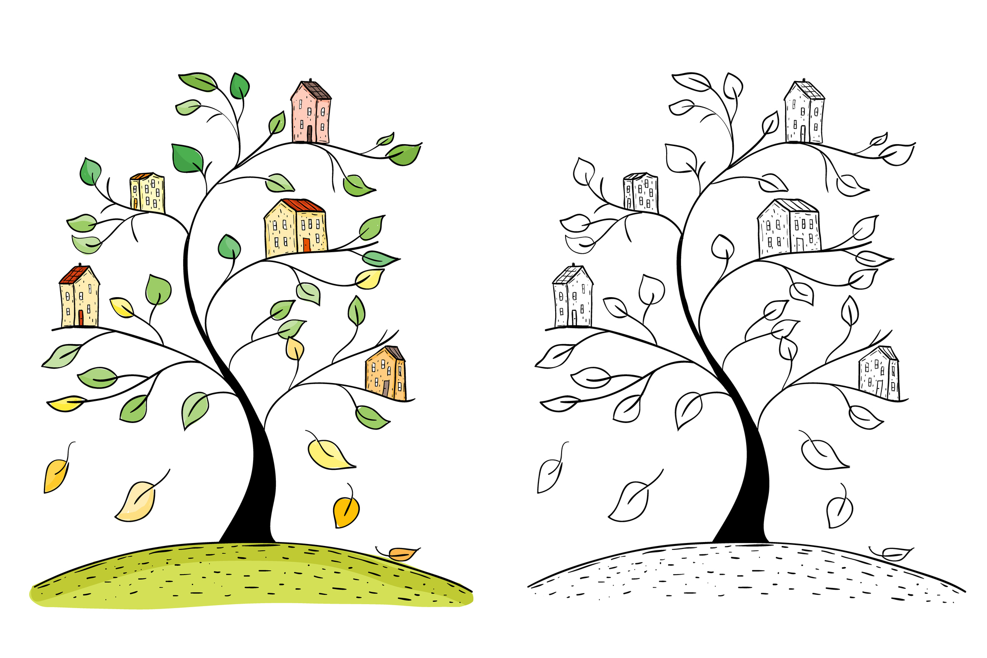 Illustration of doodle houses on tree. Drawing of village on tree branches. Hand drawn sketch.