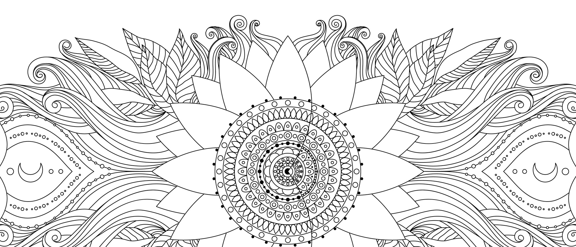 Hand drawn wavy and flower ornament. Ethnic asian boho design card, black and white illustration for coloring book, invitation, poster. Vector background.