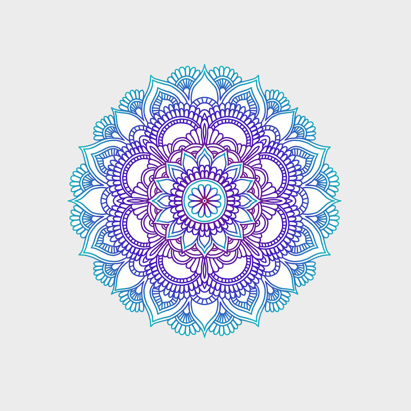 Gradient mandala. Circle ethnic ornament. Hand drawn traditional indian round element. Spiritual meditation yoga henna theme. Unique print. Template for design